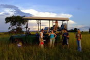 Family on safari in Botswana